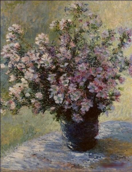 """Quel peintre est l'auteur du tableau """"Bouquet de mauves"""" présent ici ?"""