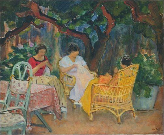 """Qui a représenté ces femmes et leurs aiguilles sur la toile intitulée """"Après-midi dans le jardin"""" ?"""