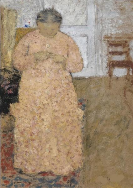 """Qui est le peintre de la """"Femme tricotant en robe rose"""" ?"""