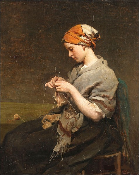 """Qui a représenté cette """"Jeune fille tricotant"""" ?"""