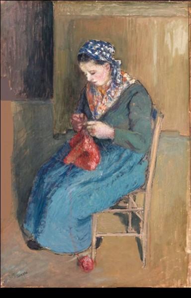 """Qui a représenté cette """"Paysanne assise à tricoter"""" ?"""
