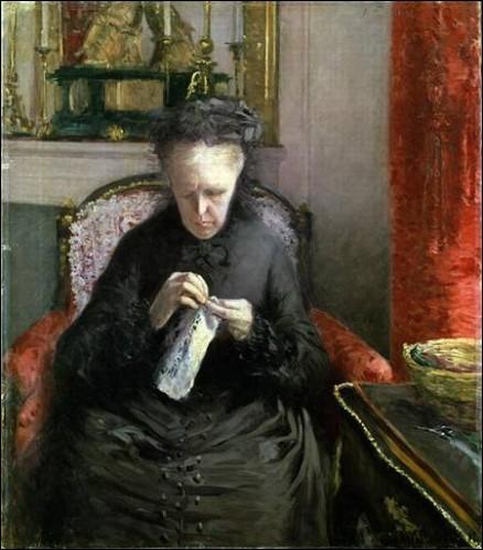 Qui a peint cette femme brodant ?