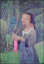 Qui a peint cette jeune fille tricotant un bas rose ?