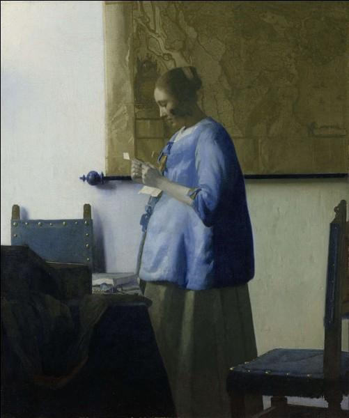 """Quel peintre hollandais du XVIIe est l'auteur du tableau """"Femme en bleu lisant une lettre"""" ?"""