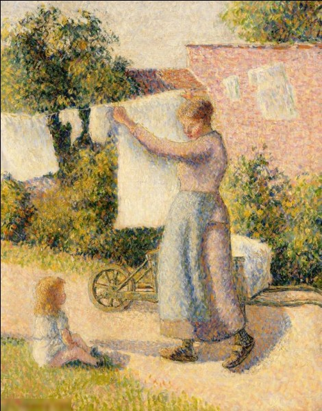 """Quel peintre a réalisé le tableau """"Femme étendant du linge"""" ?"""