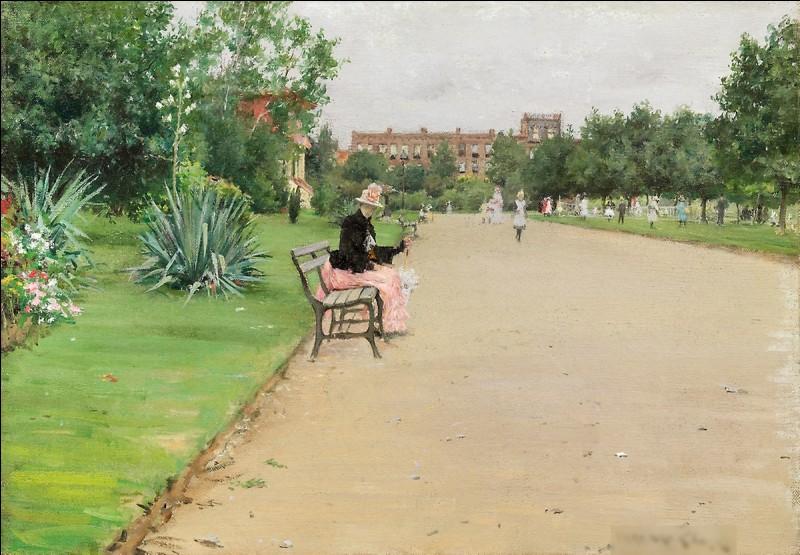 """Quel impressionniste américain est l'auteur du tableau """"Parc en ville"""" ?"""