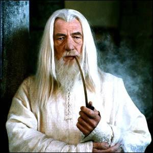 Espèce : MaiarFamille : Membre des IstariDescription : Barbe blanche, chapeau pointu et grand bâton À savoir : Son vrai nom est OlórinQuel est ce personnage ?