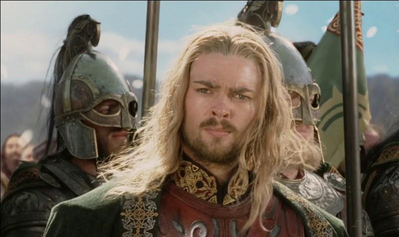 Espèce : RohirrimFamille : Fils de ThéodwynDescription : Grand, cheveux blancs rassemblés en queue de cheval À savoir : Il scelle de nouveau le lien entre le Rohan et le Gondor Quel est ce personnage ?