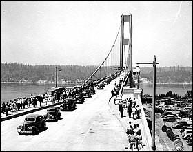 Inauguré le 1er juillet 1940, ce pont a pour particularité de s'être écroulé sur un coup de vent...4 mois plus tard !