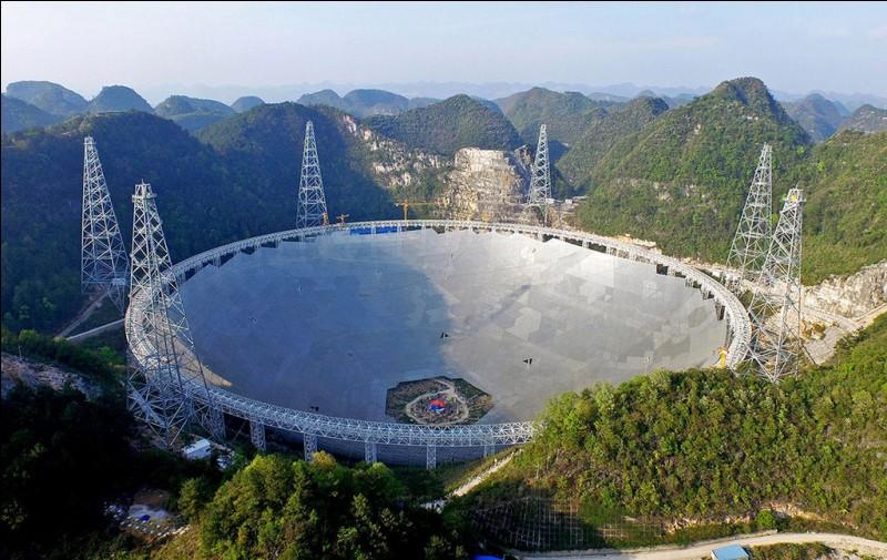 Le plus large radio-télescope (Five-hundred-meter Aperture Spherical radio Telescope) est de forme sphérique a été construit (2016) dans les montagnes du Guizhou. ''Fast is a portal to new discoveries'', confie Wang Tinggui, professeur d'astrophysique à l'Université de Science et Technologie du pays. Laquelle des 3 réponses correspond au télescope décrit ?