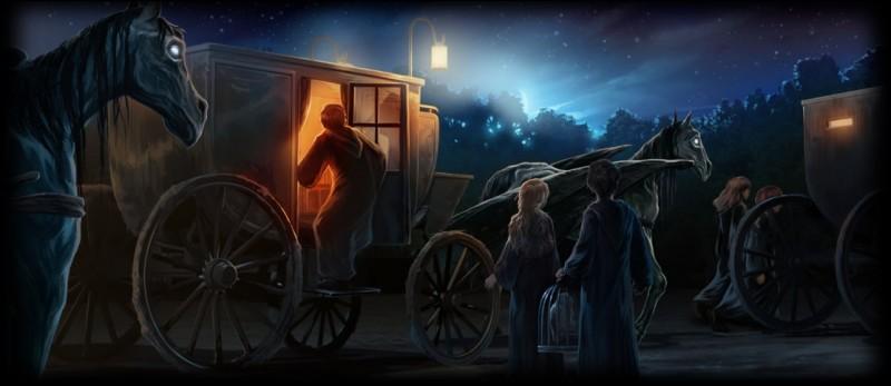 """Dans """"Harry Potter et l'Ordre du Phénix"""", par quelle créature magique est poussé le chariot menant à Poudlard ?"""