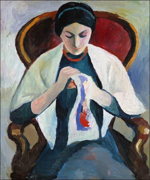 """Quel expressionniste allemand est l'auteur du tableau """"Femme cousant"""" ?"""