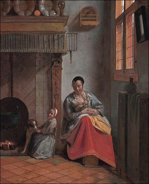 """Quel peintre hollandais du XVIIe a réalisé le tableau """"Femme allaitant un enfant"""" ?"""