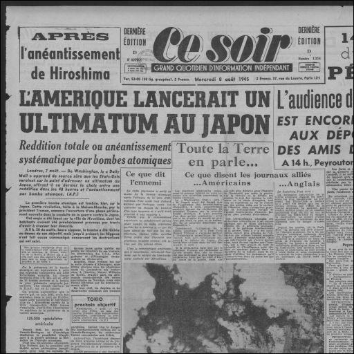 Le 8 août 1945, c'est :