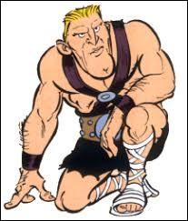 """Caricature de Kirk Douglas, Spartakis est un personnage de l'album """"La Galère d'Obélix""""."""