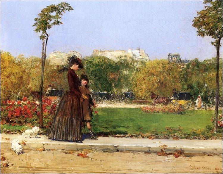 """Quel impressionniste américain est l'auteur du tableau """"Dans le parc, Paris"""" ?"""
