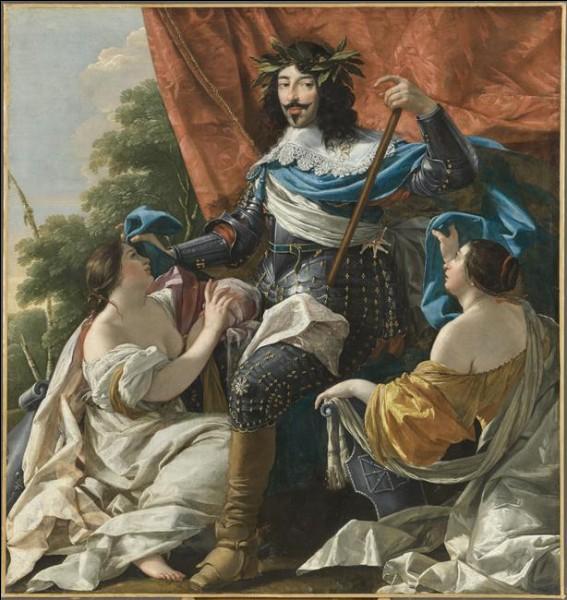 """Ce peintre de XVIIe siècle, auteur de ce """"Louis XIII entre deux figures de femmes symbolisant La France et la Navarre"""" est emblématique de la peinture baroque française. C'est ... Voüet"""