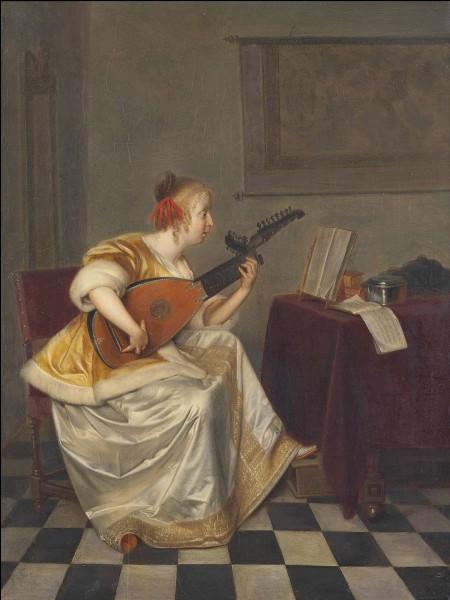 """Toujours au XVIIe, quel peintre hollandais a réalisé le tableau """"Jeune fille jouant du luth en intérieur"""" ?"""