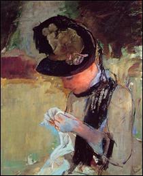 """Qui a peint """"Jeune femme cousant dans le jardin"""" ?"""