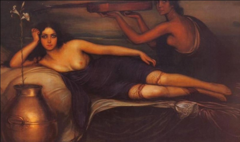 1921- Ce portrait réalisé par Romero de Torres représente Musidora sur un divan et à demi-dévêtue. Osée pour l'époque, cette toile digne d'un des plus grands maîtres, est un des fleurons du musée des Beaux-Arts de...