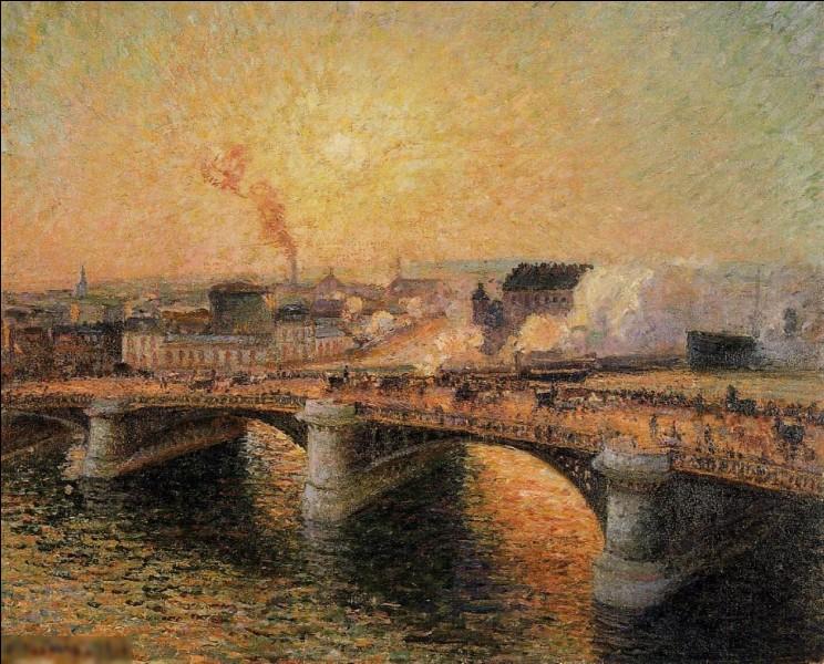 """Qui a peint le tableau """"Le pont Boieldieu, coucher de soleil"""" ?"""
