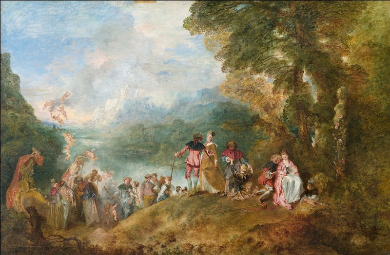 """Le peintre, auteur de ce tableau """"Le Pèlerinage à l'île de Cythère"""", c'est ... Watteau."""