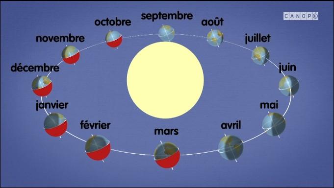 D'après ce schéma, en décembre, quelle saison fait-il dans l'hémisphère en rouge ?