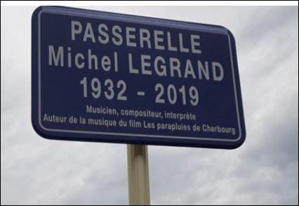 """""""Je crois que non seulement cette passerelle lui fait plaisir de là où il est, mais cela va vous porter bonheur, car Michel est quelqu'un qui porte bonheur"""", dans quelle ville et à quelle occasion Macha Méril, la comédienne, a-t-elle fait cette déclaration le 21 septembre 2019 ?"""