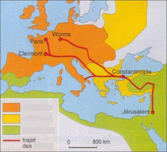 Le trait rouge symbolise le trajet des croisés entrepris par :