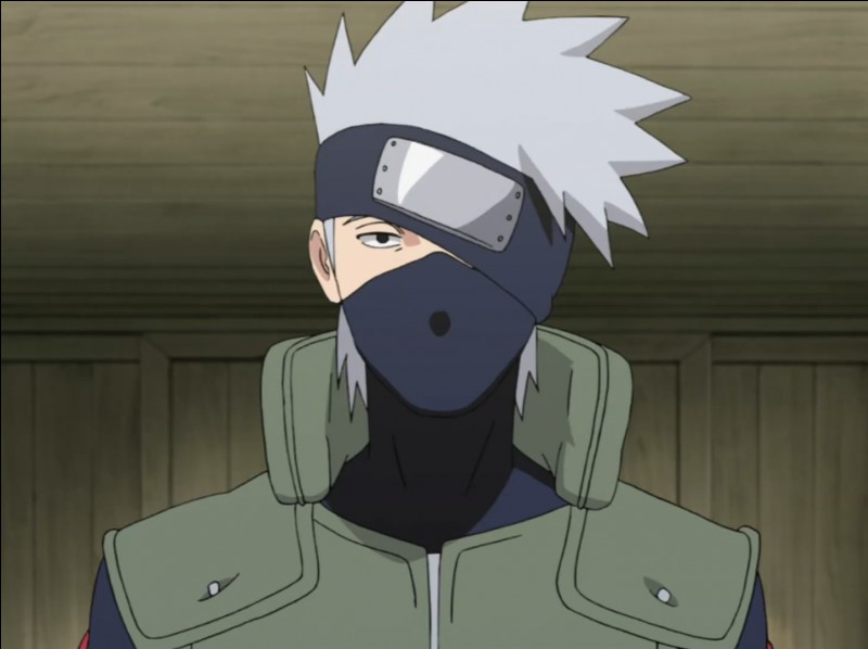 """Kakashi Hatake, maître de Naruto et surnommé """"Ninja copieur''. Qu'y a-t-il sur bandeau frontal ?"""