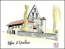 Voici une aquarelle représentant l'église Saint-Jean-Baptiste d'Escalans. Commune de l'arrondissement de Mont-de-Marsan, elle se situe dans le département ...