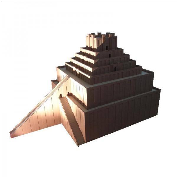 Comment s'appelle le temple situé en haut de cette représentation de la ziggourat de Babylone ?