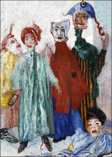 """Quel peintre a réalisé la toile intitulée """"Les Masques singuliers"""", connu pour avoir représenté beaucoup de scènes morbides avec des masques ou des squelettes ?"""