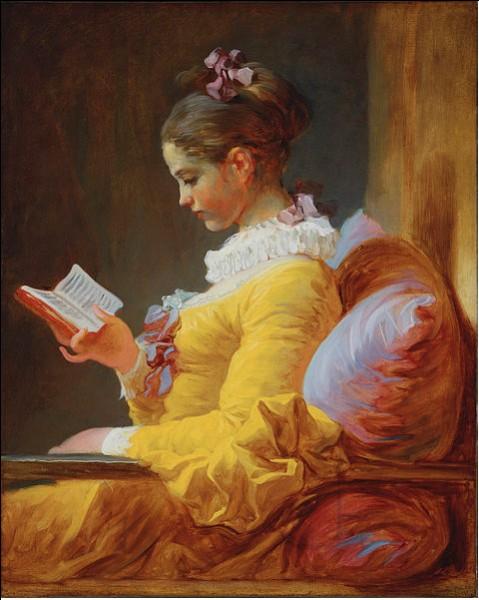 Voici enfin, toujours coiffée d'un chignon, une liseuse sur une toile très connue, de l'artiste :