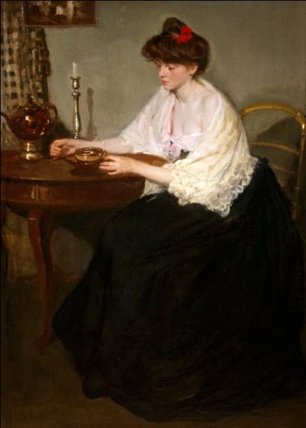 Et voici encore une femme au chignon représentée par le peintre américain :