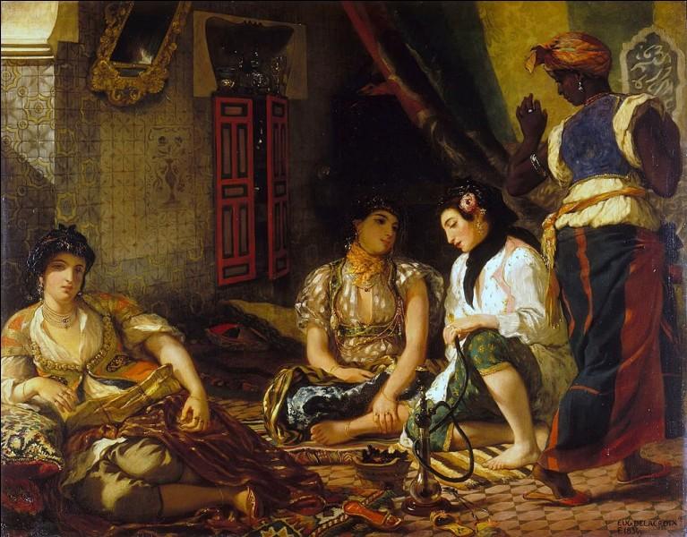 À qui appartient cette peinture orientale représentant des femmes, le narguilé posé à terre ?