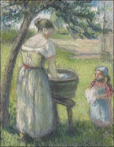 """Qui a représenté cette """"Femme lavant du linge avec enfant"""" ?"""