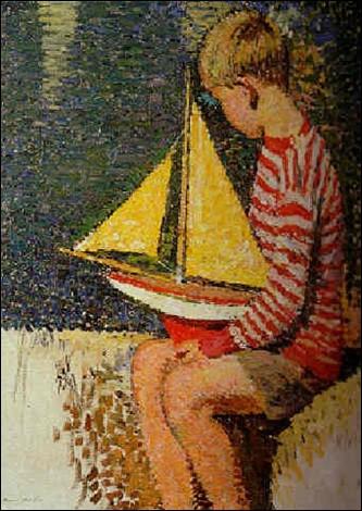 """Qui a peint cet """"Enfant jouant au bord d'un bassin du jardin du Luxembourg"""" ?"""