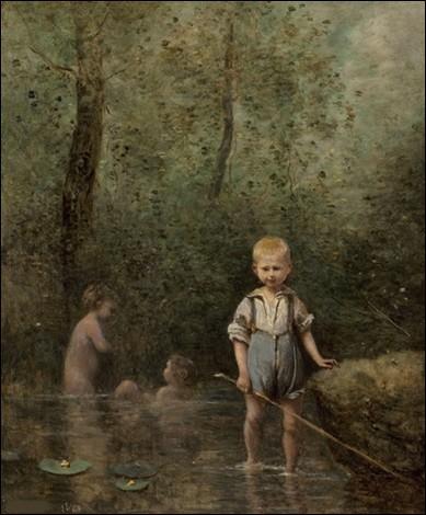 """Voici une toile représentant des """"Enfants jouant dans une rivière"""". Qui est l'artiste ?"""