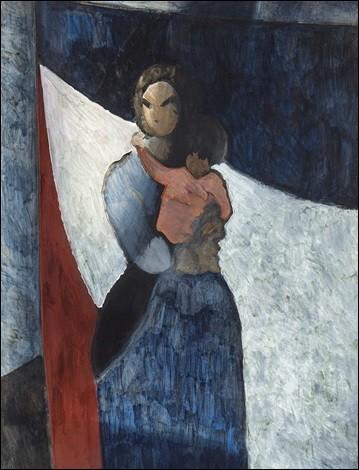 """Qui est l'artiste ayant représenté cette """"Femme de pêcheur, un enfant sur le bras"""" ?"""
