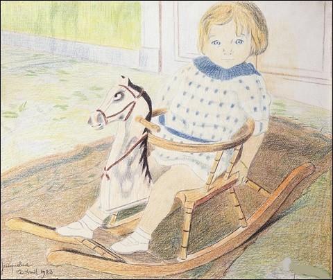 """Qui est l'artiste du tableau intitulé """"Petit enfant sur un cheval à bascule"""" ?"""