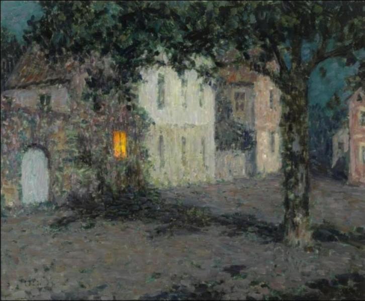 """Et on finit avec """"Clair de lune sur une place à Cherbourg"""", du peintre :"""