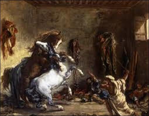 Quel est le nom de ce peintre romantique qui a réalisé cette toile intitulée ''Chevaux arabes se battant dans une écurie'' en 1860 ?