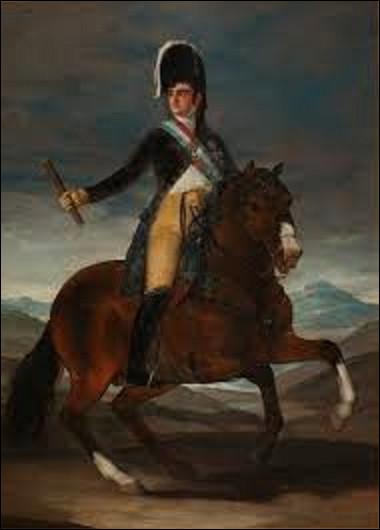 Datant de 1808, ''Portrait équestre de Ferdinand VII'' représente le roi d'Espagne avant que ce dernier ne quitte son pays chassé par Joseph Napoléon Bonaparte. Quel préromantique a peint ce tableau ?