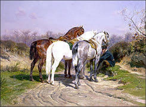 De ces trois peintres animaliers, lequel ou laquelle a exécuté cette toile intitulée ''Relais de chasse'' en 1887 ?