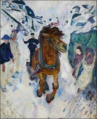Toile peinte entre 1910 et 1912, ''Cheval au galop'' est un tableau représentant l'animal au galop dans la neige. Quel expressionniste est l'auteur de cette huile ?
