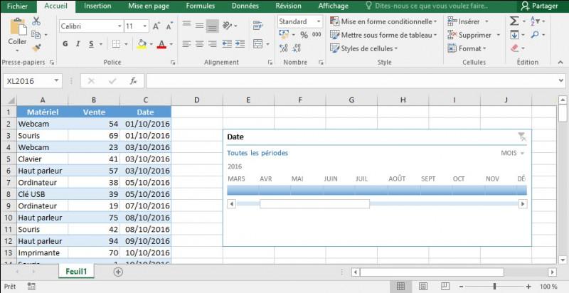 Une chronologie permet de filtrer les données sur des dates. Veuillez indiquer si :
