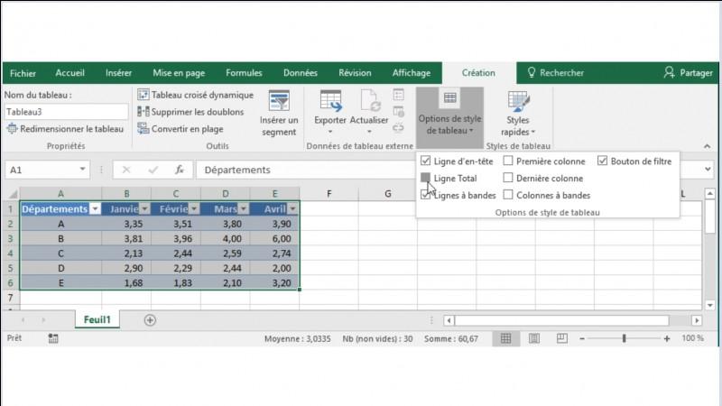 Ces données ont été mises sous forme de tableau via le bouton (Mettre sous forme de tableau). Je coche l'option (Ligne Totale). Que devient le tableau ?