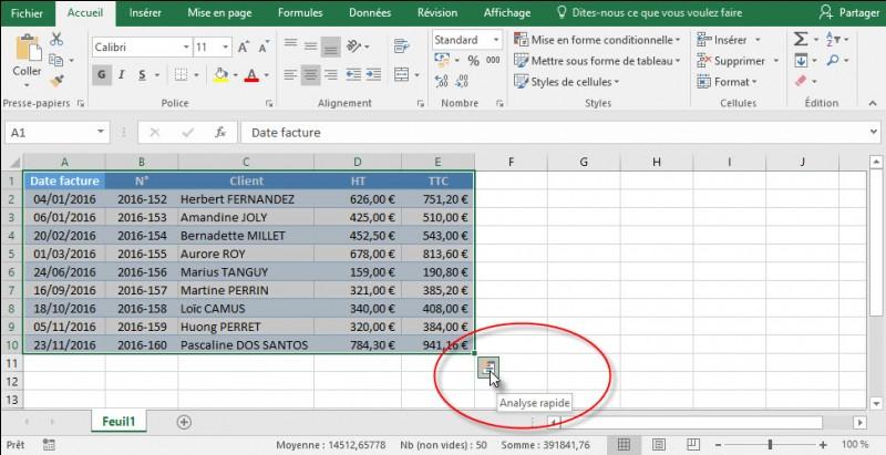 Lorsque une plage de données est sélectionnée, le bouton (Analyse rapide) s'affiche en bas à droite de la sélection.Que permet ce bouton (si les données s'y prêtent) ?