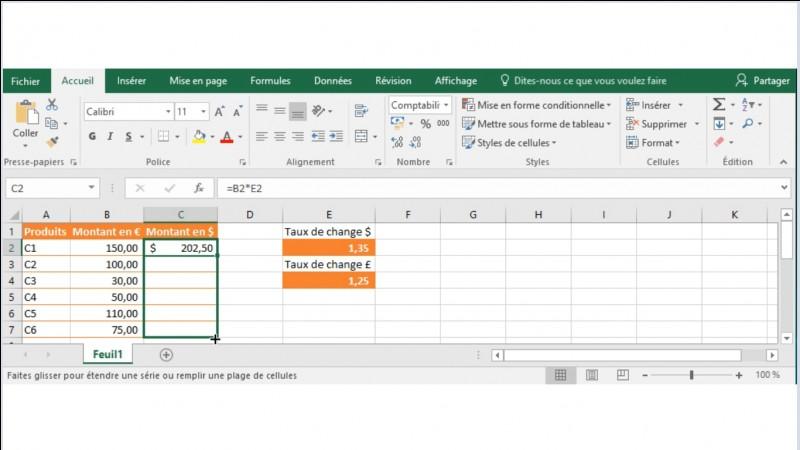 J'ai saisi dans la cellule C2 la formule =B2*E2 afin de calculer le montant en $. J'utilise la poignée de recopie pour copier la formule dans toute la colonne C.Que devient mon tableau ?